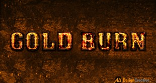 Gold Burning Text Effect PSD