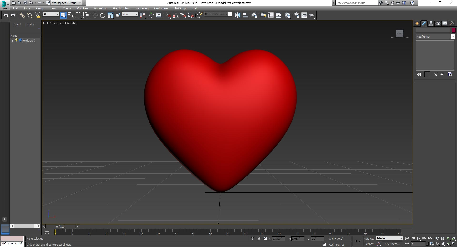 Love Heart 3D Model Free Download
