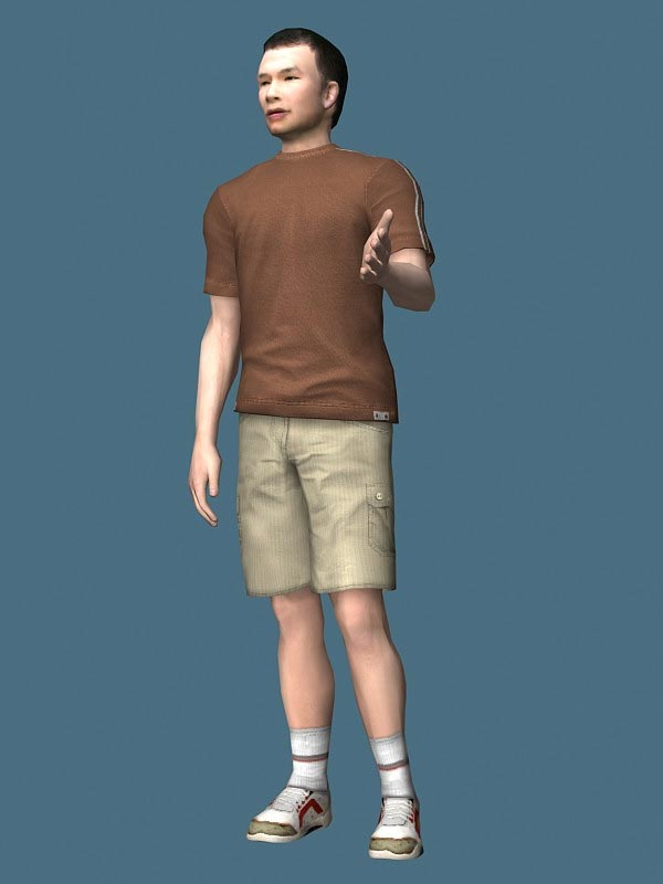 Asian Man Standing Rigged Character 3D Model