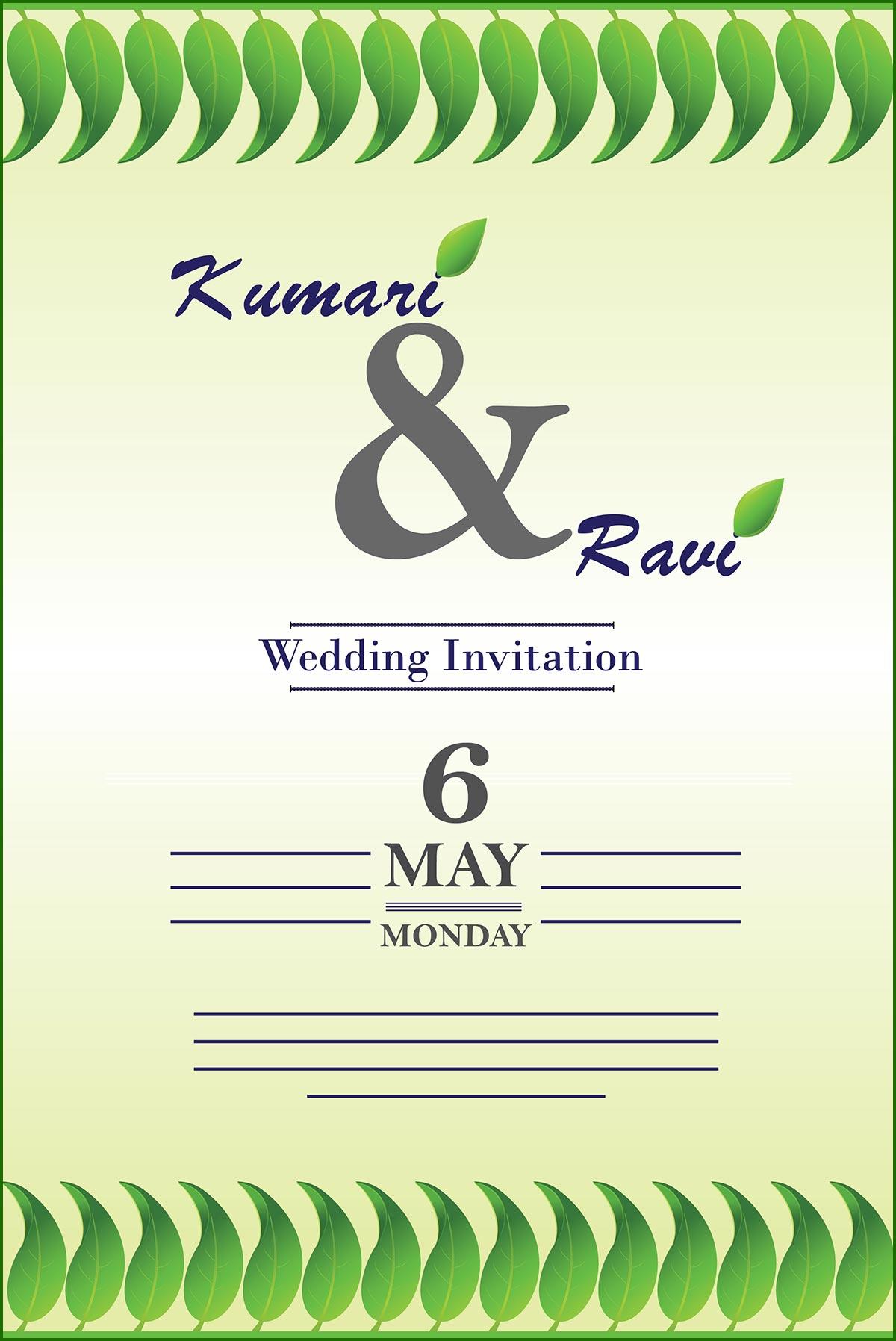 Wedding Invitation Card Cover Vector