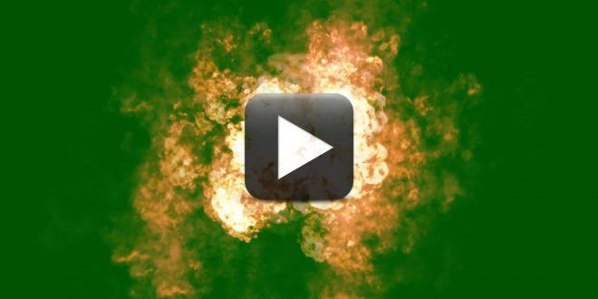 Big Fire Explosion Effect in Top View-Black and Green Screen Background Effects