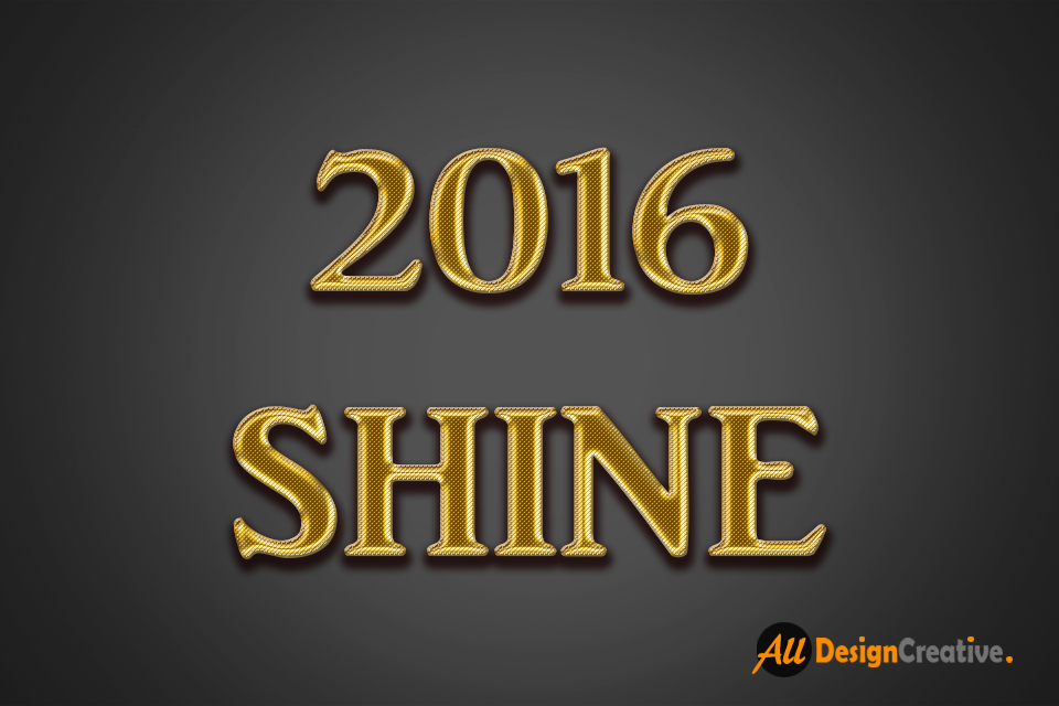 2016 Shine Gold Text Effect PSD File