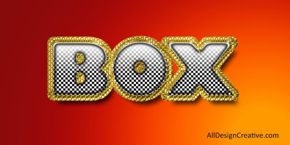 Box Gold Text Effect PSD