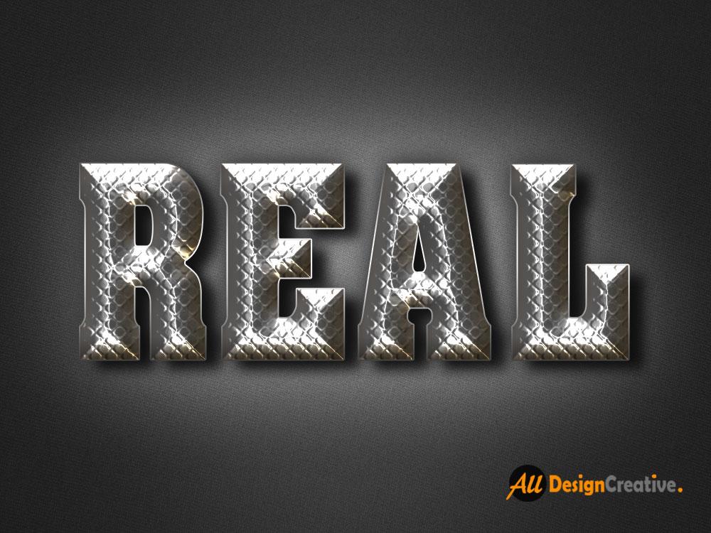 Real Metal Text PSD