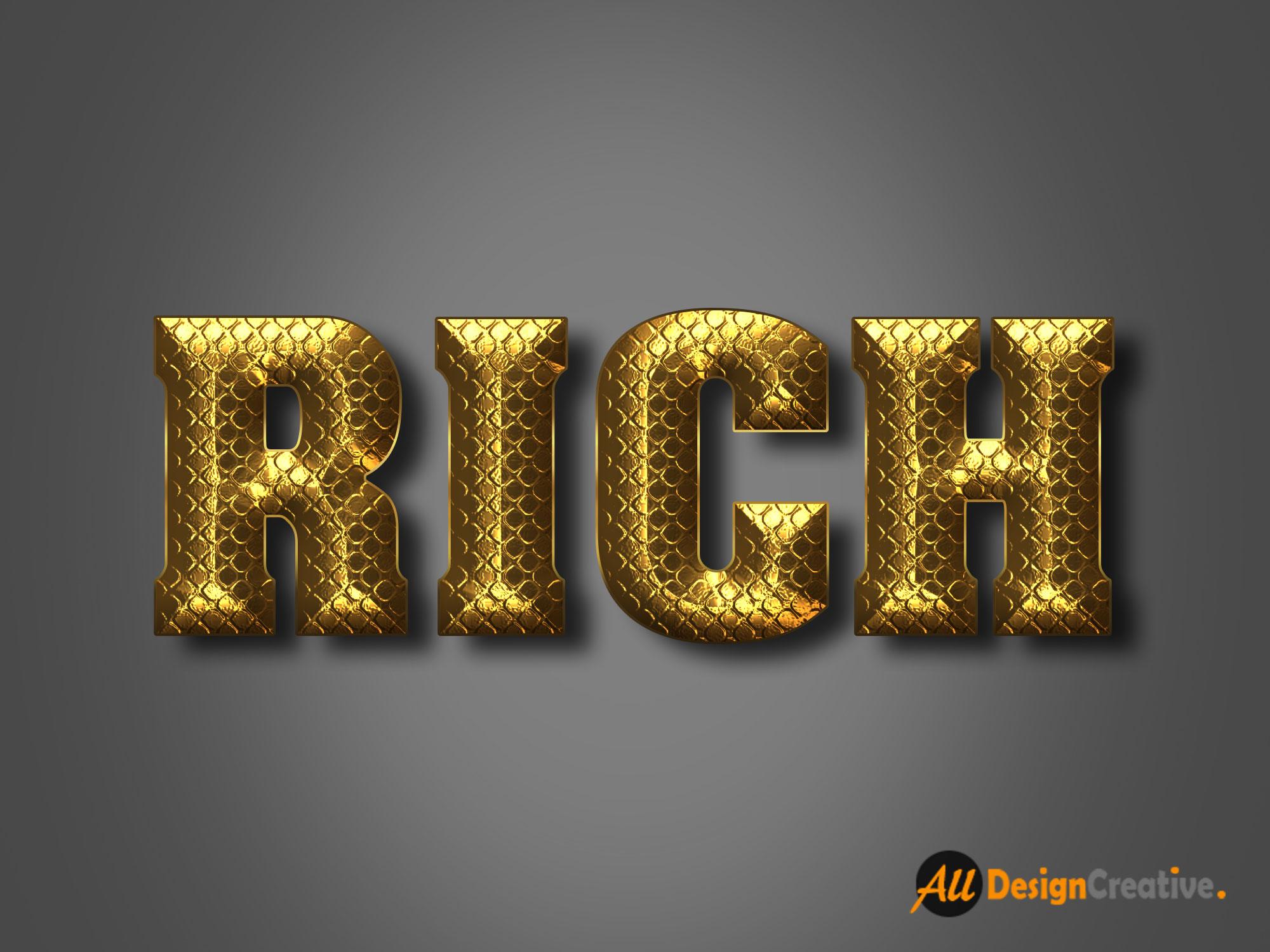 Rich Gold Text Effect PSD