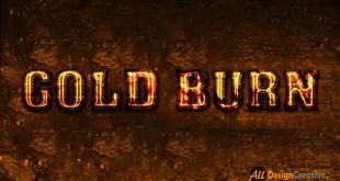Gold Burning Text Effect PSD