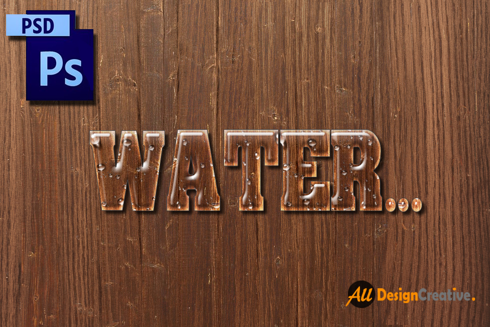 Water Text PSD File