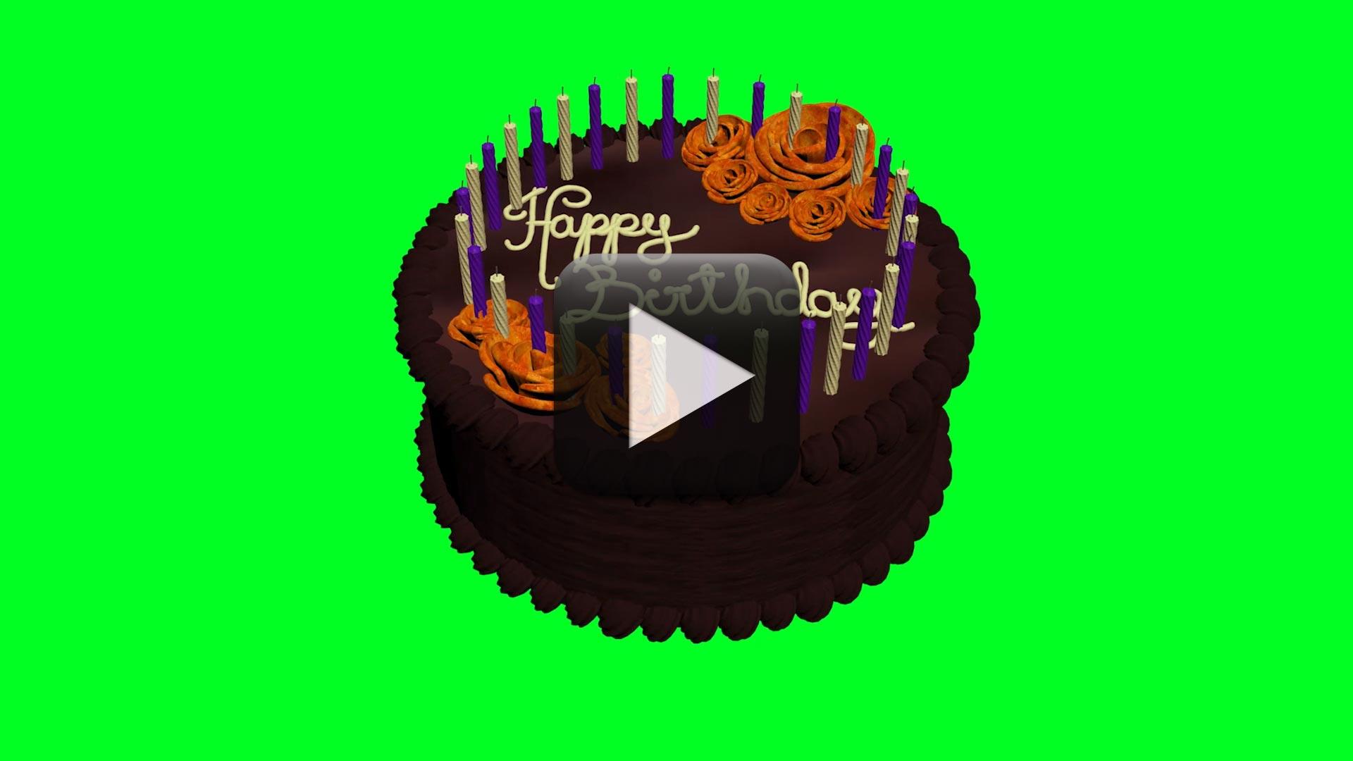 Animated Birthday Cake Green Screen