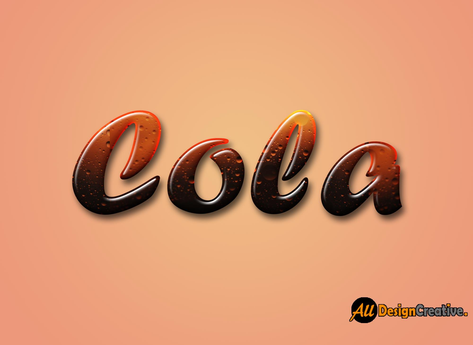Cola Text Effect Photoshop PSD