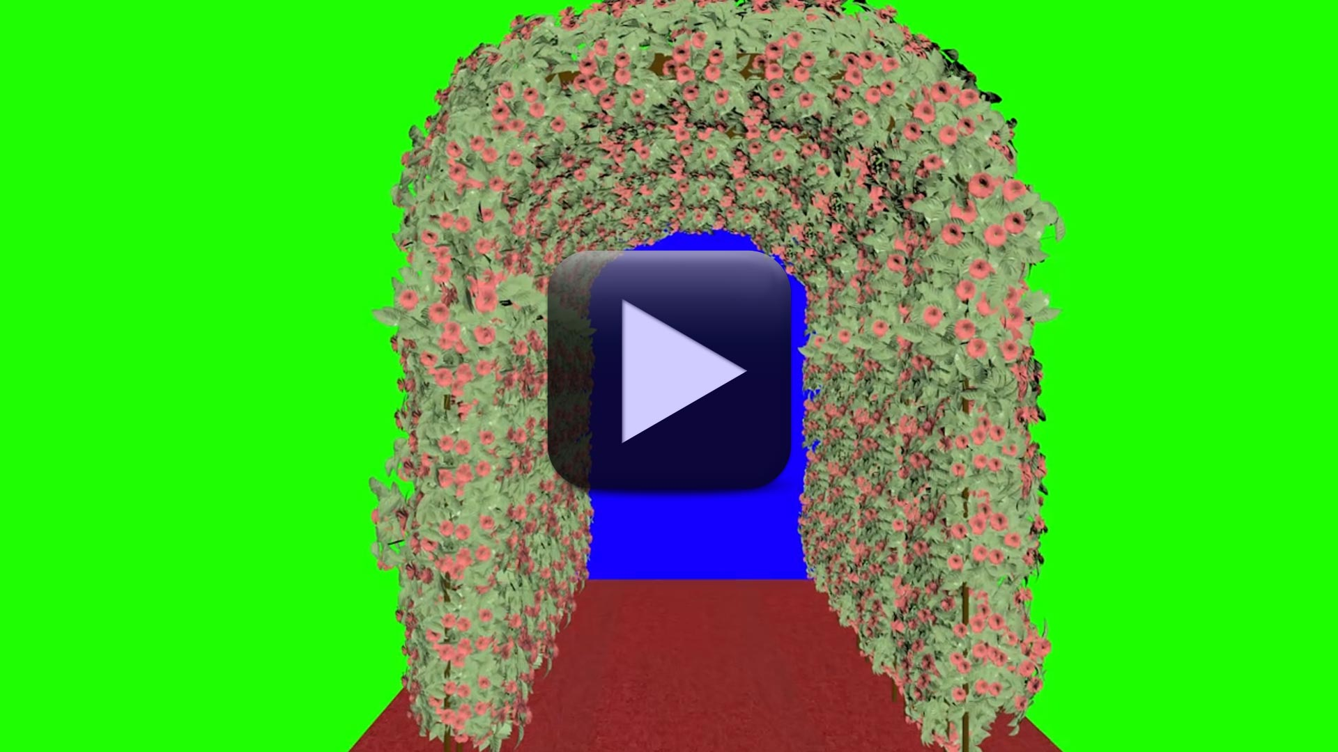 Beautiful Flowers Wedding Frame in Green Screen Effect