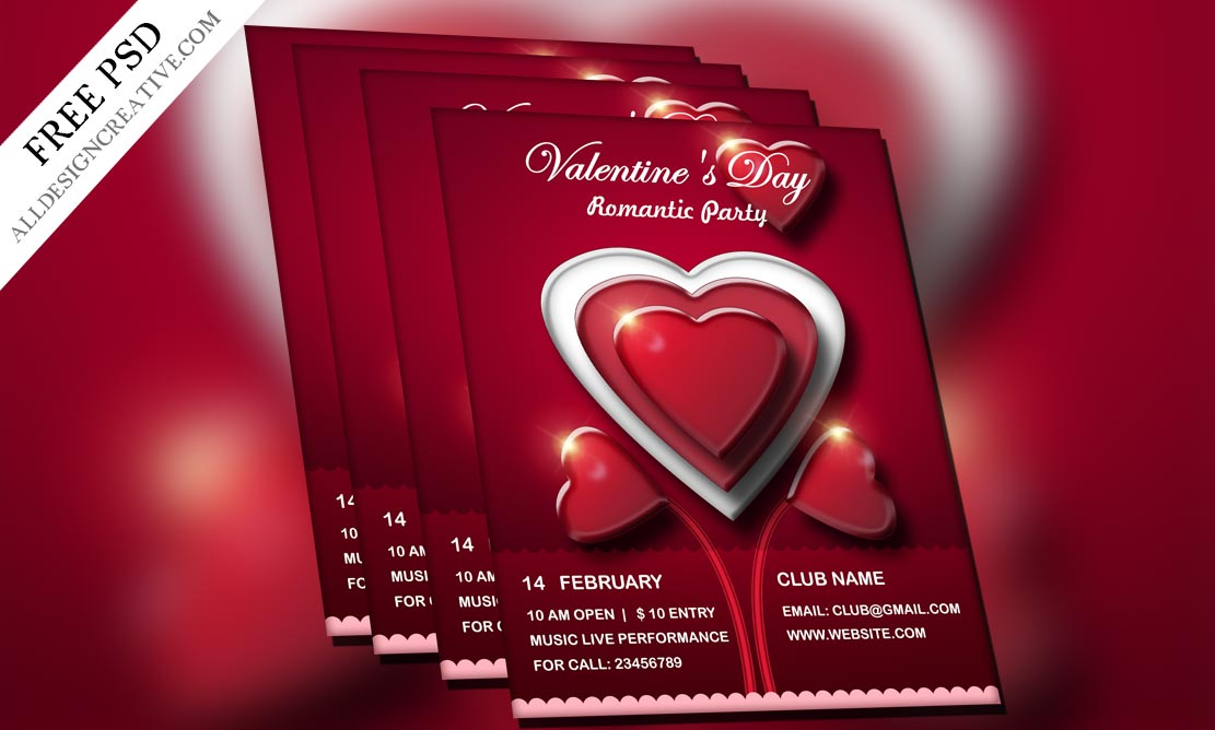 Valentine\'s Day Flyer PSD Templates Free Download | All Design Creative