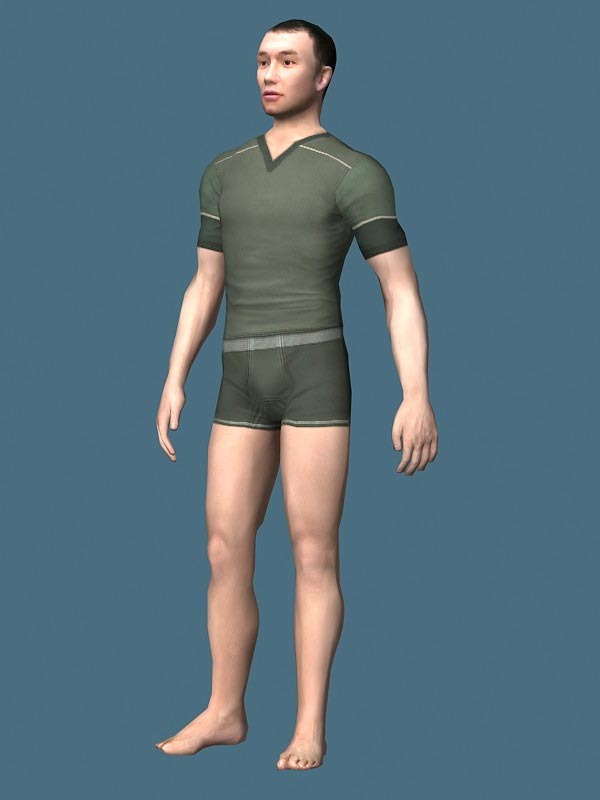 Man in Underwear Rigged Character