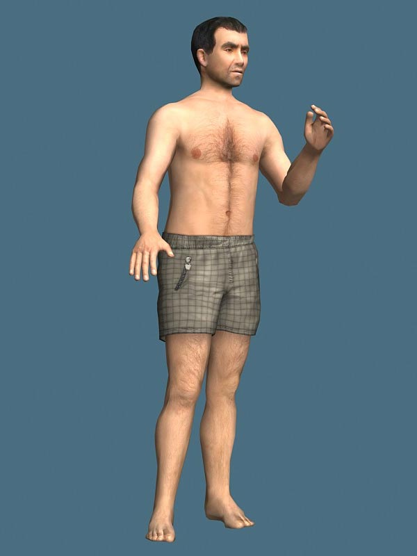 Shirtless Man Rigged Character 3D Model-Free Download