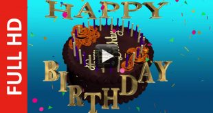 Happy Birthday Text and Cake Animation Background