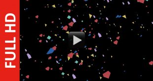 Colorful Paper Pieces Falling Animation Black Screen Background