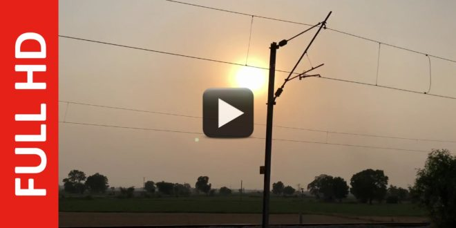 Sunset Video & Moving Train Track with Electricity Pole Background