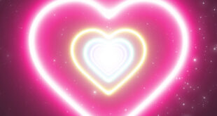 Love Heart Neon Lights Tunnel And Top Romantic Abstract Glow Particles Moving Wallpaper Background