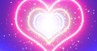 Neon Lights Love Heart Tunnel & New Romantic Abstract Glow Particles Moving Background Video Effect