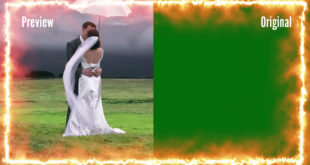 Fire Flame Wedding Frame Green Screen | Title Frame Animation