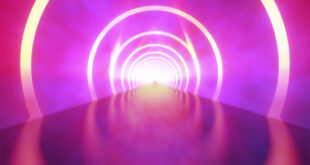 Neon Lights Tunnel Title Background Abstract Glow Particle Smoke Effect Moving Video